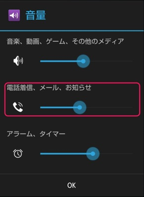 着信音量の設定